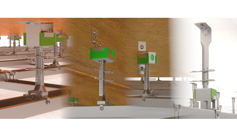 These acoustic hangers are anti vibration mounts that have been designed for the suspension of ceilings.