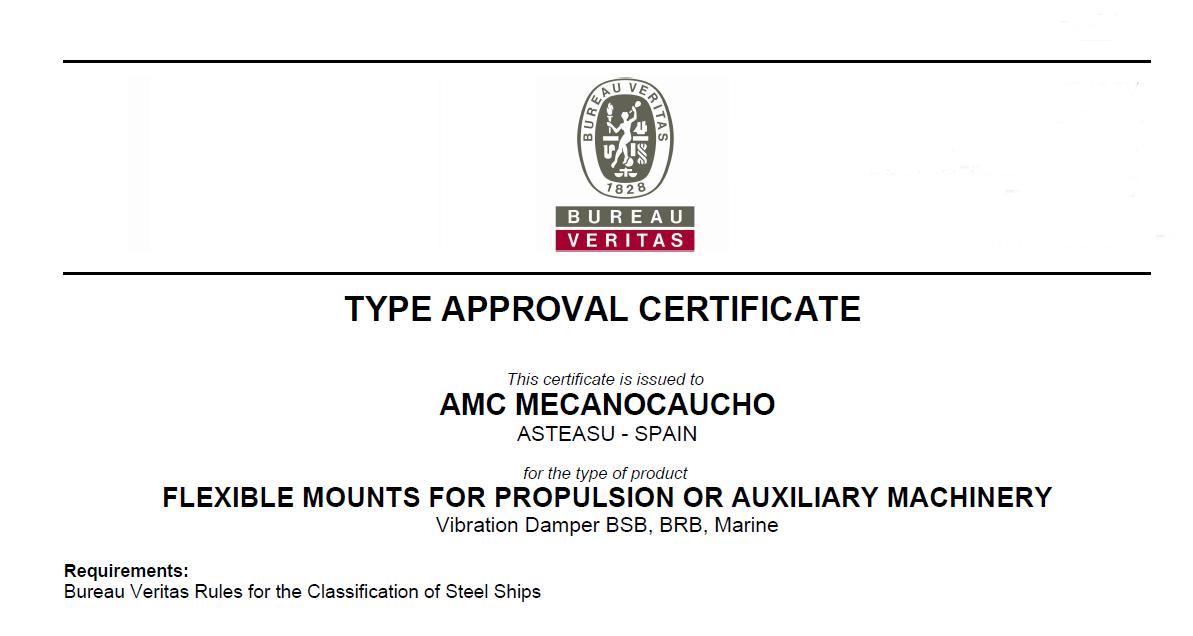 Amc Mecanocaucho Obtains Marine Approval From Bureau Veritas In The