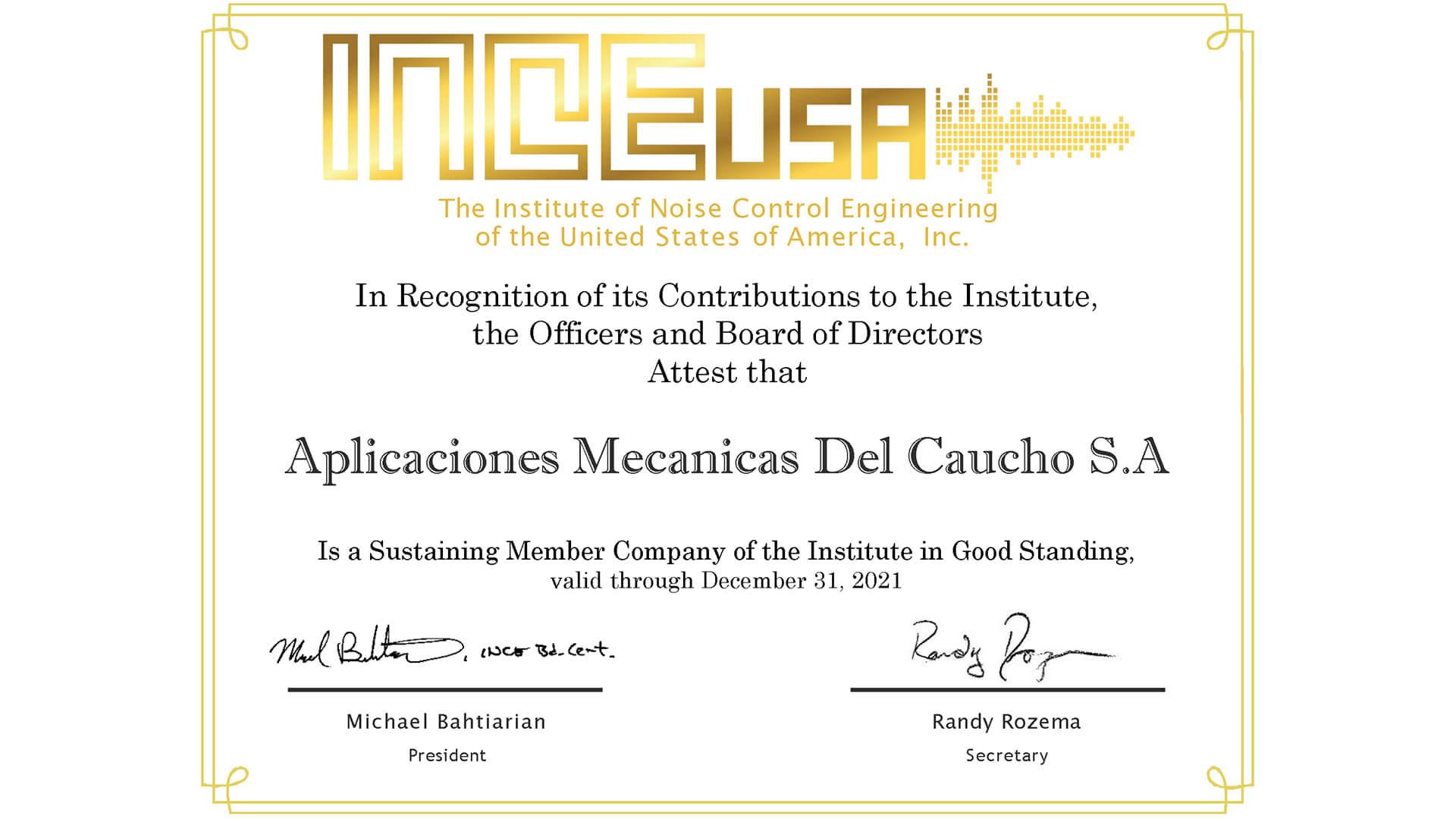 INCE-USA, dem Institut für Schallschutztechnik der USA.